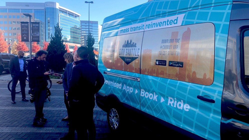 The company debuted the Chariot shuttle at a press event in October 2018. (David Sachs/Denverite)
