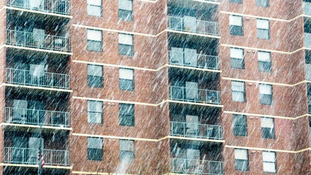 "Denver apartments under the ""bomb cyclone"" blizzard, March 13, 2019. (Kevin J. Beaty/Denverite)"