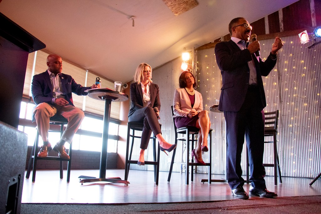 Penfield Tate speaks during the Denver Post's mayoral candidate forum at FIELDHOUSE on Federal Boulevard, April 1, 2019. (Kevin J. Beaty/Denverite)