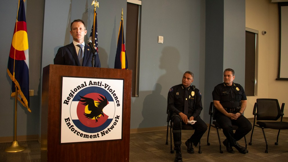 U.S. Attorney Jason Dunn speaks during a press conference announcing the RAVEN law enforcement program, June 12, 2019. (Kevin J. Beaty/Denverite)