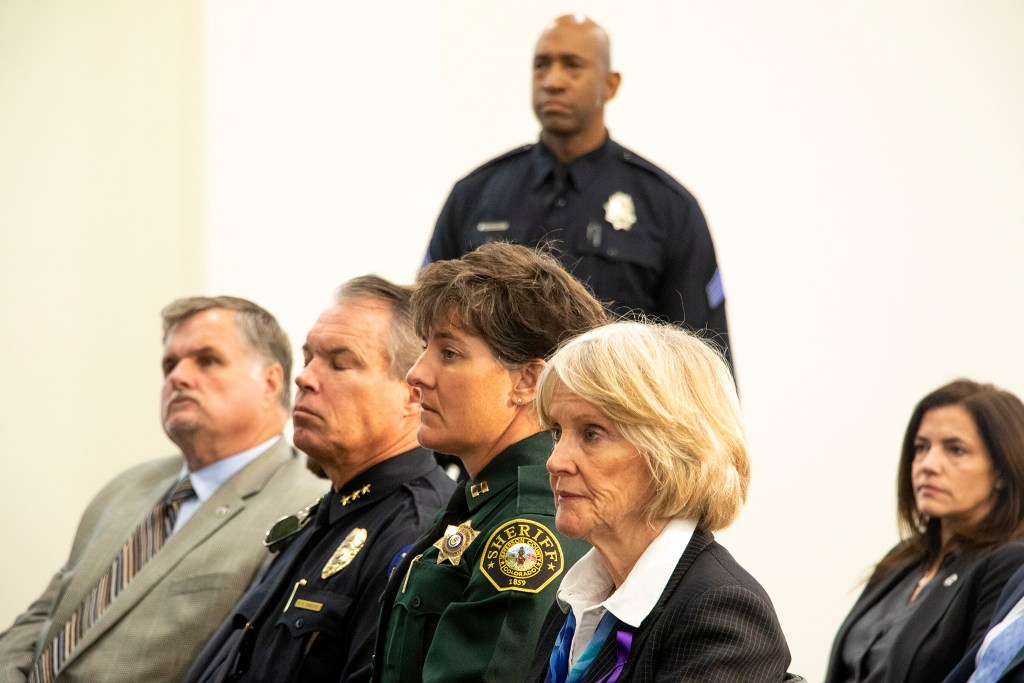 District Attorney Beth McCann attends a press conference announcing the new RAVEN law enforcement program, June 12, 2019. (Kevin J. Beaty/Denverite)