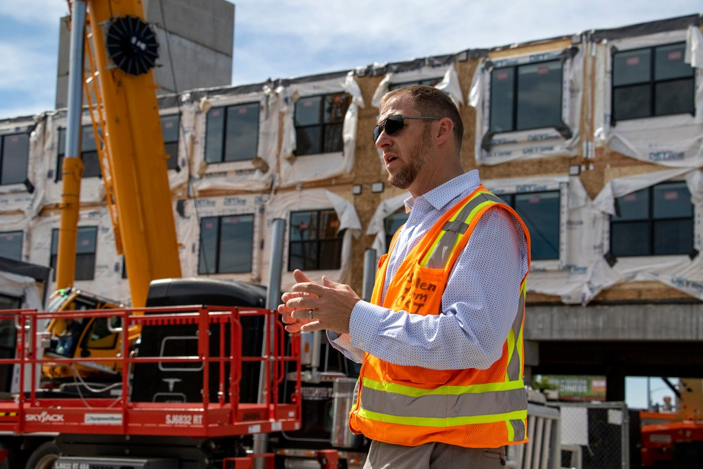 Matt Chiodini, architect of 1775 Federal Blvd. with OZ Architecture, leads a tour of the property, June 25, 2019. (Kevin J. Beaty/Denverite)
