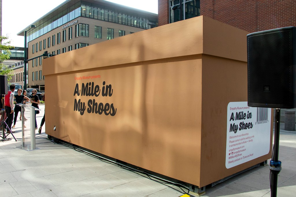 "The Empathy Museum's traveling ""A Mile in My Shoes"" exhibit is ready to open downtown, an early installation of this year's Biennial of the Americas, Aug. 8, 2019. (Kevin J. Beaty/Denverite)"