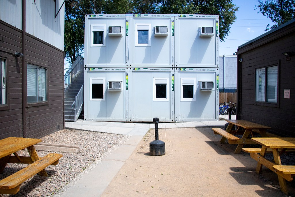 Stacked prefab classrooms behind Tooley Hall, Aug. 13, 2019. (Kevin J. Beaty/Denverite)