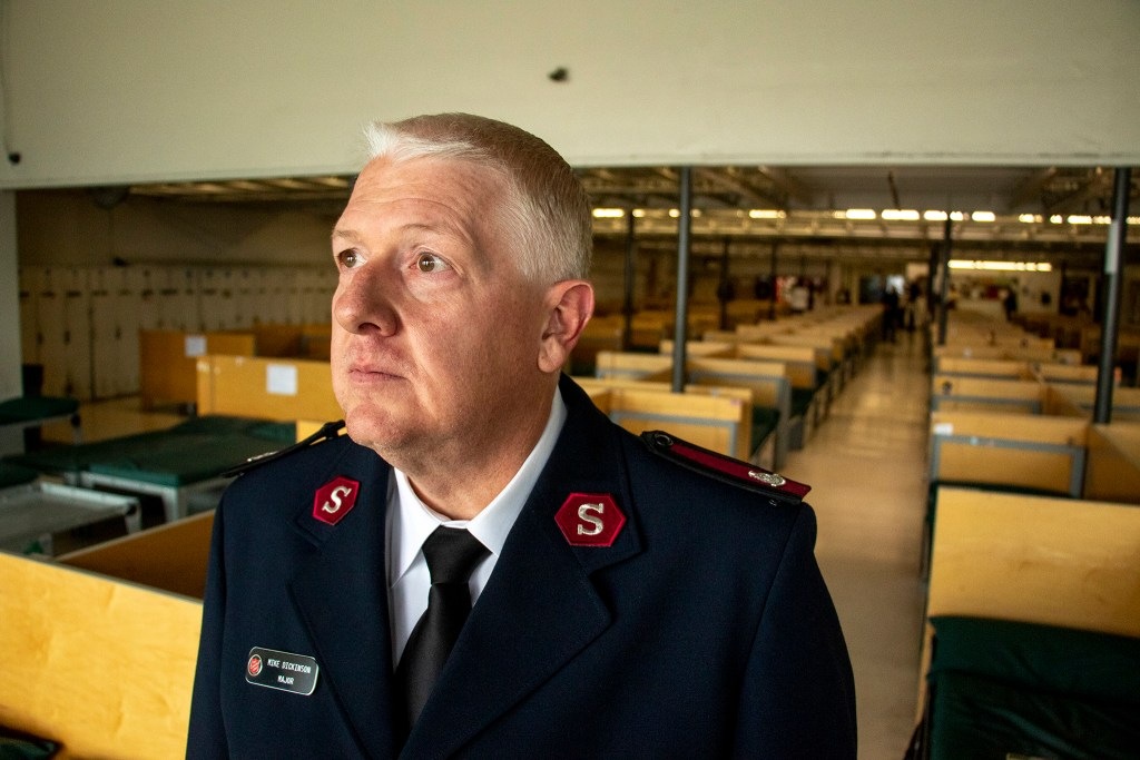The Salvation Army's Major Mike Dickenson poses for a portrait inside the Crossroads shelter for the unhoused, Aug. 23, 2019. (Kevin J. Beaty/Denverite)
