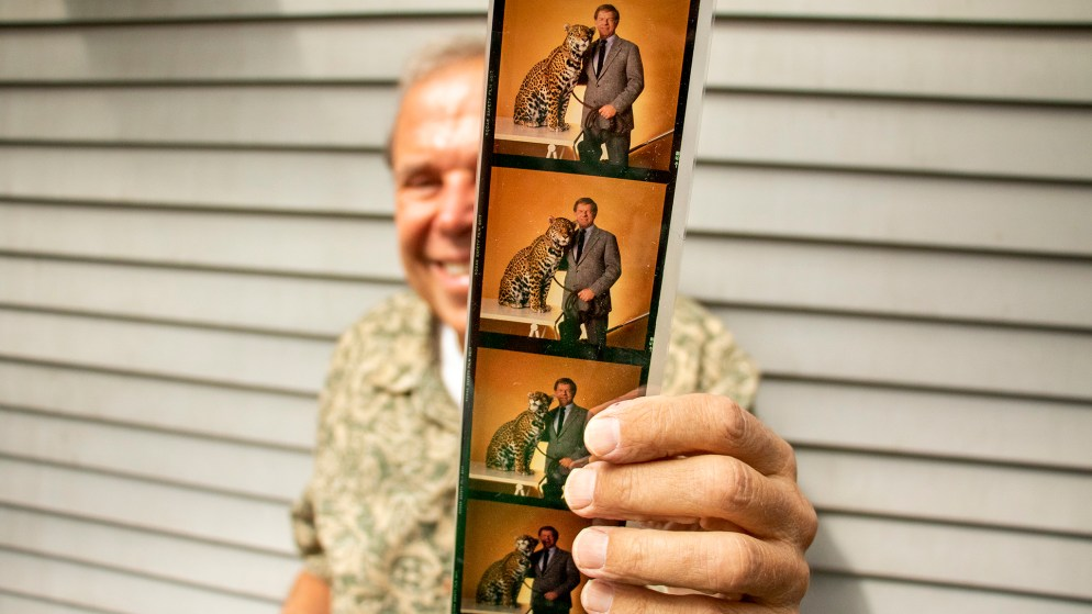 Mark Kiryluk shows out-takes from his cover shoot of Red Miller for Denver Magazine. Aug. 26, 2019. (Kevin J. Beaty/Denverite)