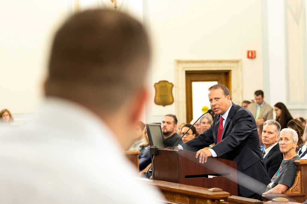 Denver Division of Community Corrections Director Greg Mauro answers Councilman Chris Hinds' questions, Aug. 26, 2019. (Kevin J. Beaty/Denverite)
