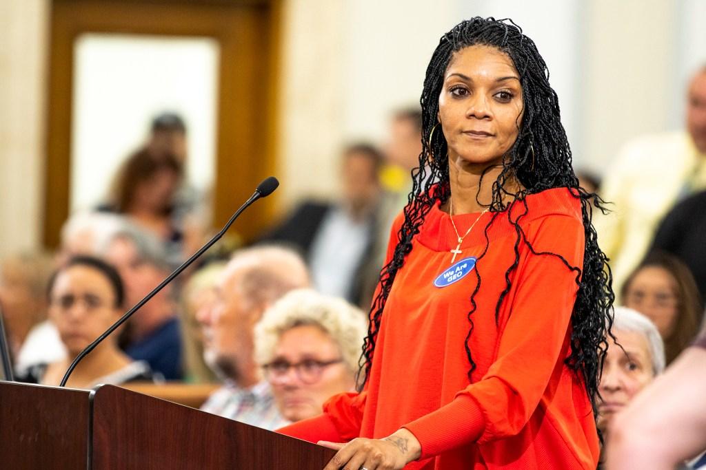 April Cotton addresses Denver City Council, Aug. 26, 2019. (Kevin J. Beaty/Denverite)