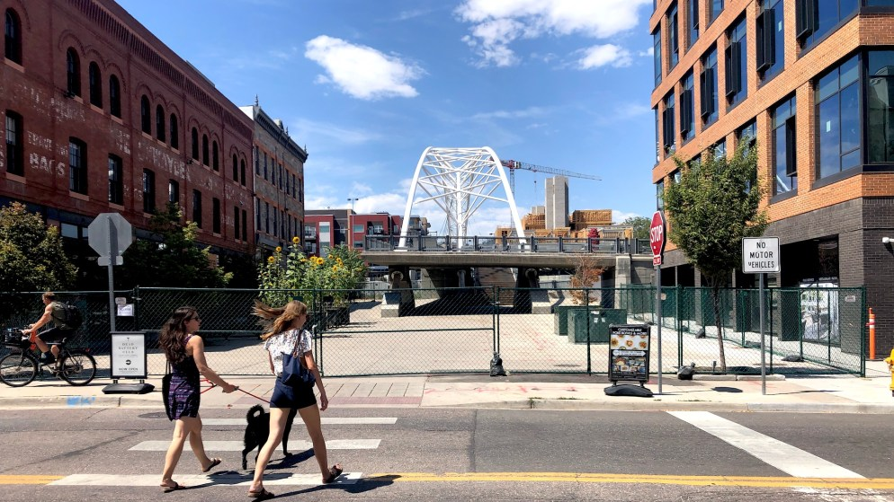 Most of Platte Street Plaza is closed off for construction. A walking and biking path remain open. (David Sachs/Denverite)