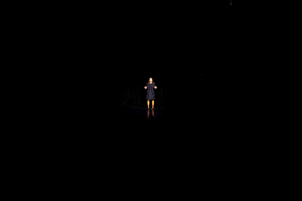 Laura Peniche performs in Motus Theater's UndocuAmerica Project at eTown Hall in Boulder, June 29, 2019. (Kevin J. Beaty/Denverite)