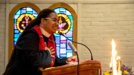 Rev. Jennifer S. Leath at the pulpit inside Campbell Chapel AME Church on a Sunday morning, Aug. 11, 2019. (Kevin J. Beaty/Denverite)