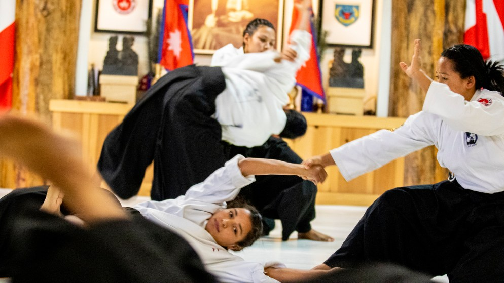 Nepali Soldiers demonstrate their skills at a ceremony closing out their month of training at Aikido Nippon Kan, Aug. 31, 2019. (Kevin J. Beaty/Denverite)