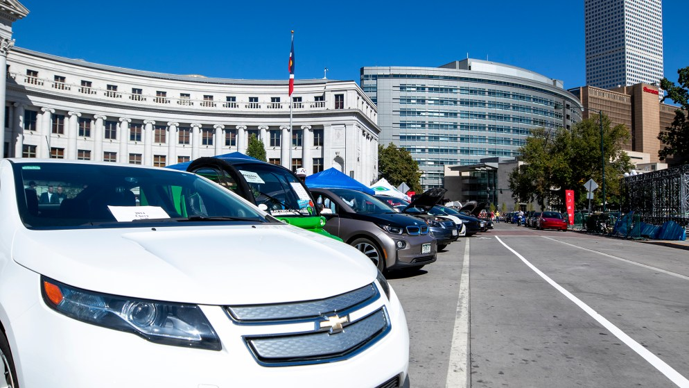 Electric vehicles line Bannock Street in front of Denver's City and County Building, Sept. 19, 2019. (Kevin J. Beaty/Denverite)