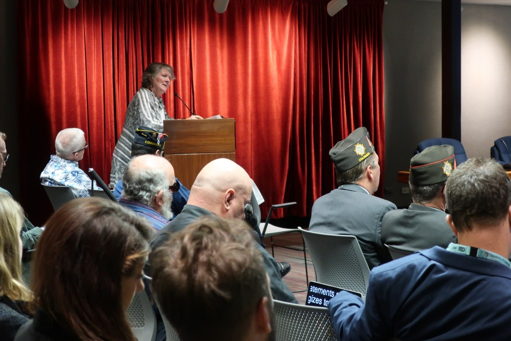 RTD board director Kate Williams speaks at the agency's board meeting on Tuesday, where she apologized for her comments  last week questioning the need for a National Medal of Honor Museum.