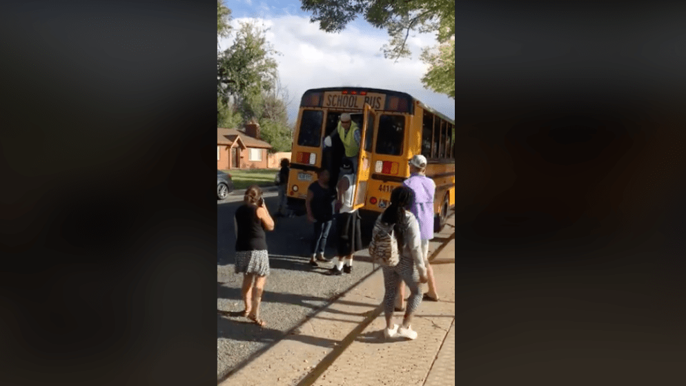 A screenshot of a video taken by Qaedah Perron showing an incident involving Denver Public School employees on Sept. 18, 2019, in Denver.