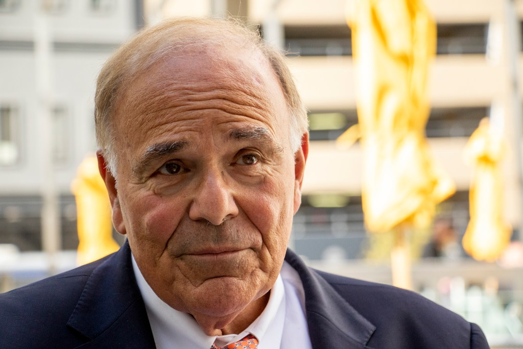 Former Pennsylvania Gov. Ed Rendell speaks to a reporter at a downtown Starbucks, a place where people use intravenous drugs. Oct. 3 2019. (Kevin J. Beaty/Denverite)