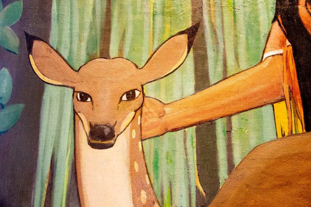 A nice deer in a mural by Allen True inside Tammen Hall, near the campus of St. Joseph Hospital, Oct. 15, 2019. (Kevin J. Beaty/Denverite)