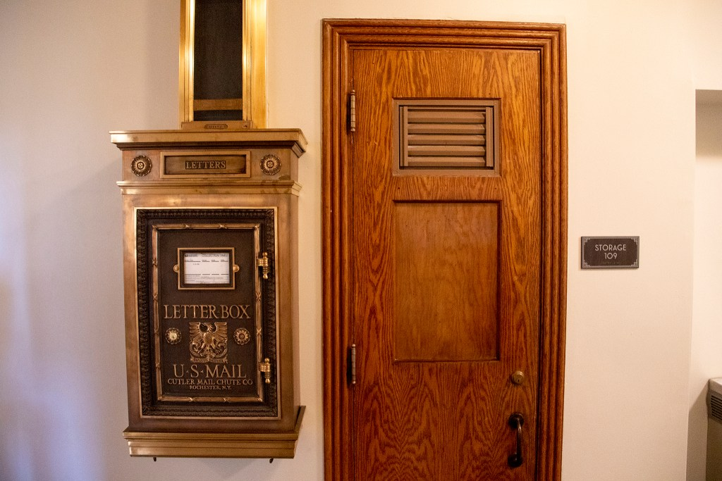 A historic mailbox, just for show, inside Tammen Hall, Oct. 15, 2019. (Kevin J. Beaty/Denverite)