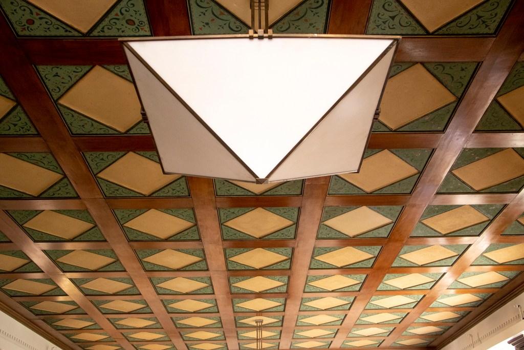 The historic ceiling of Tammen Hall's community room, Oct. 15, 2019. (Kevin J. Beaty/Denverite)