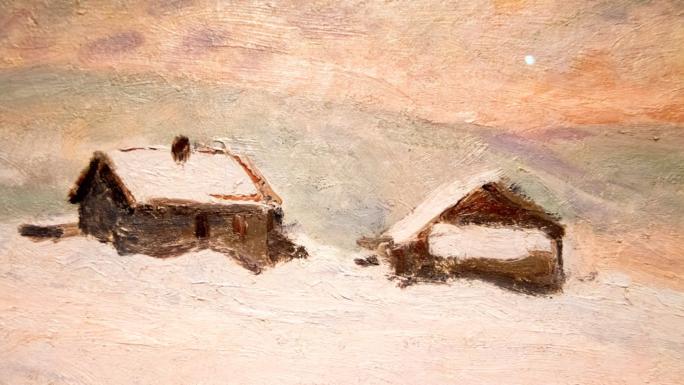 """""""The Houses in the Snow, Norway"""" on display in the Denver Art Museum's """"Claude Monet: The Truth of Nature"""" exhibit Oct. 17, 2019. (Kevin J. Beaty/Denverite)"""