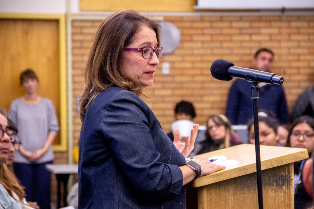 Superintendent Susana Cordova speaks at Lincoln High School on Monday, Nov. 4, 2019, in Denver. (Esteban L. Hernandez/Denverite)