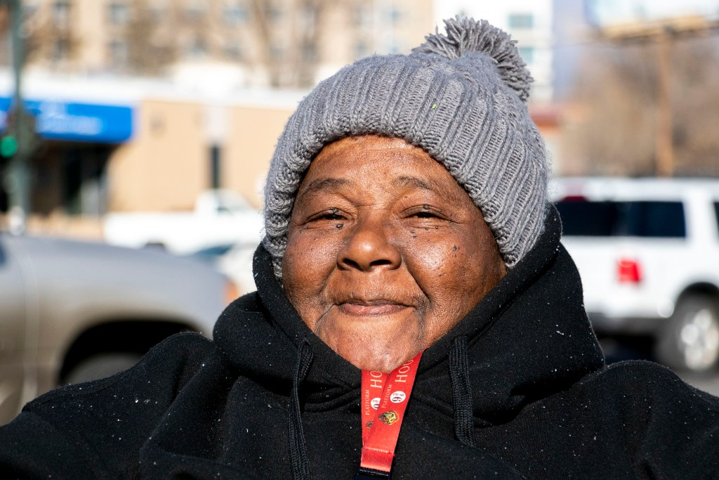 Cynthia Mickens poses for a portrait along Federal Boulevard, Nov. 7, 2019. (Kevin J. Beaty/Denverite)