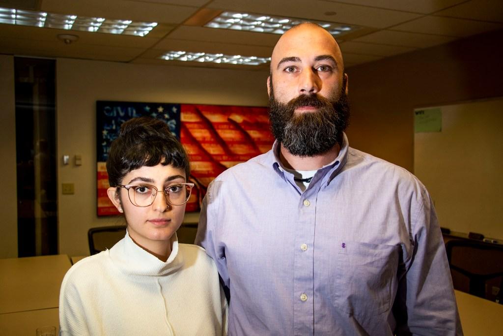 Tony Samimi and Neda Samimi-Gomez pose for a portrait inside ACLU Colorado's uptown headquarters. Nov. 12, 2019. (Kevin J. Beaty/Denverite)