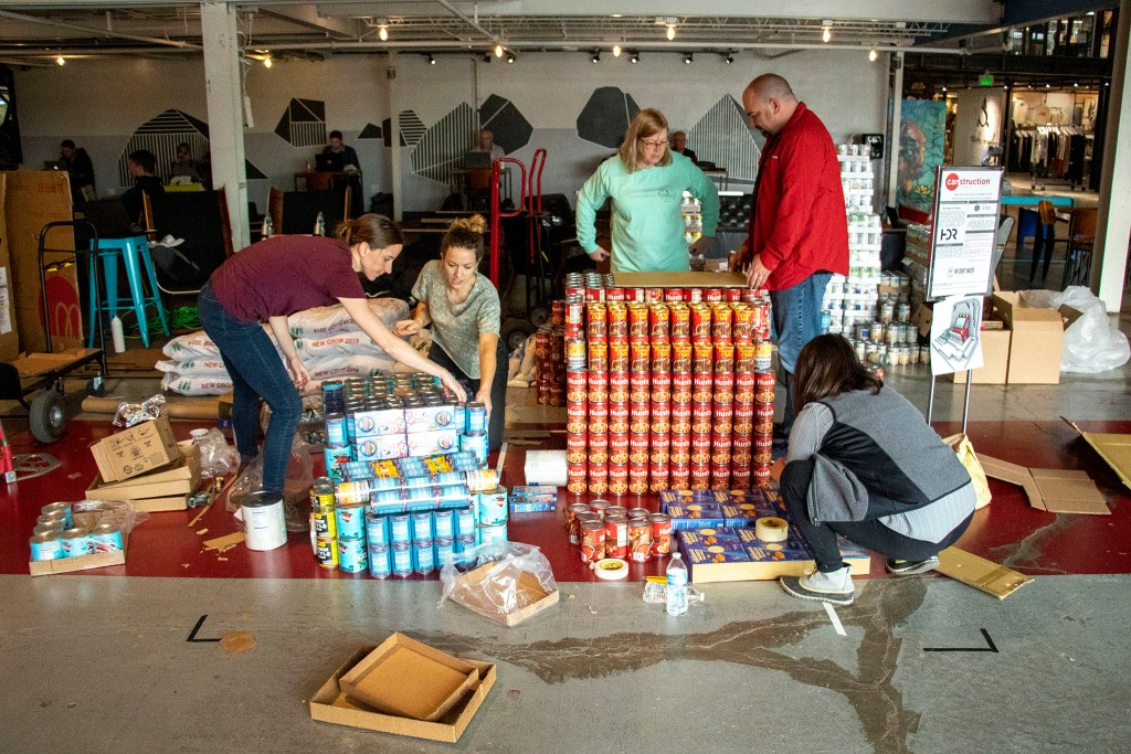 "It's ""can-struction,"" put on by We Don't Waste at Aurora's Stanley Marketplace. Nov. 15, 2019. (Kevin J. Beaty/Denverite)"