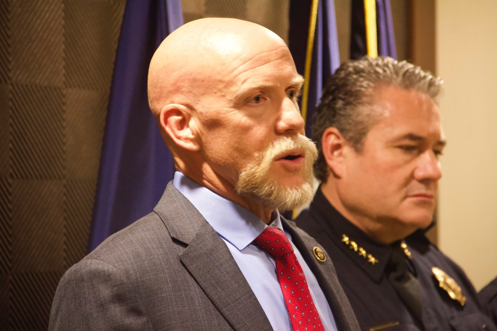 Agent David Booth from the Bureau of Alcohol, Tobacco, Firearms & Explosives speaks to reporters on Thursday, Nov. 7, 2019, in downtown Denver. (Esteban L. Hernandez/Denverite)