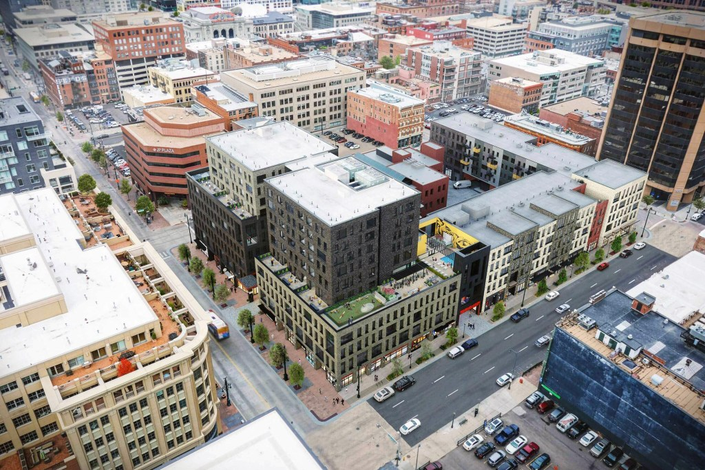 A birds-eye-view of Market Station at 16th and Market. (Courtesy, Continuum Partners)