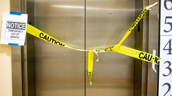 A broken elevator inside the Denver Public Library's main branch. Dec. 3, 2019. (Kevin J. Beaty/Denverite)