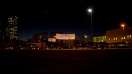 Lights above Sonny Lawson Park in Five Points represent people counted in the 2019 annual Point In Time survey of homelessness in Denver. Dec. 4, 2019. (Kevin J. Beaty/Denverite)