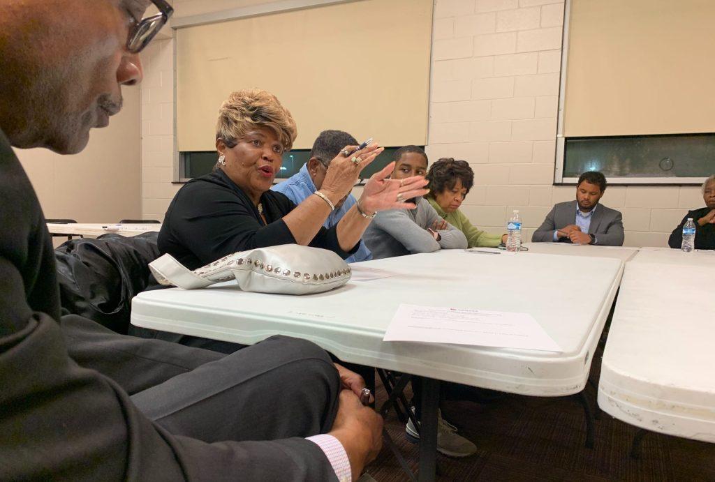 Thrichosia Burdine speaks during a meeting discussing Denver's next sheriff on Thursday, Dec. 19, in Montbello. (Esteban L. Hernandez/Denverite)