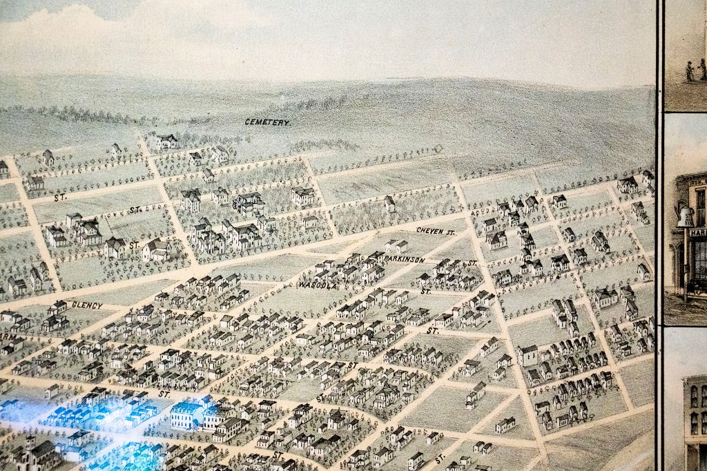 The intersection of Broadway and Colfax Avenue featured in an 1874 aerial map of Denver, the first of its kind made of the city, part of Wesley Brown's collection. Dec. 16, 2019. (Kevin J. Beaty/Denverite)