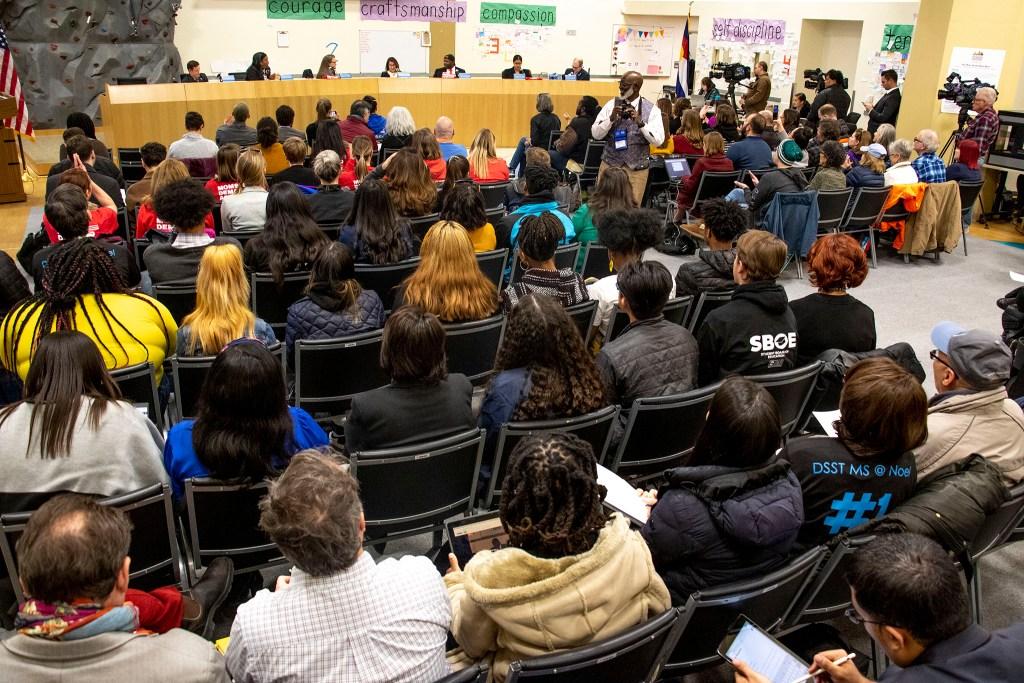 The Denver School Board meets, Jan. 23, 2020. (Kevin J. Beaty/Denverite)
