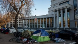 A tent encampment in Denver's Civic Center Park in front of the Colorado Supreme Court building on Friday Jan. 10, 2020.