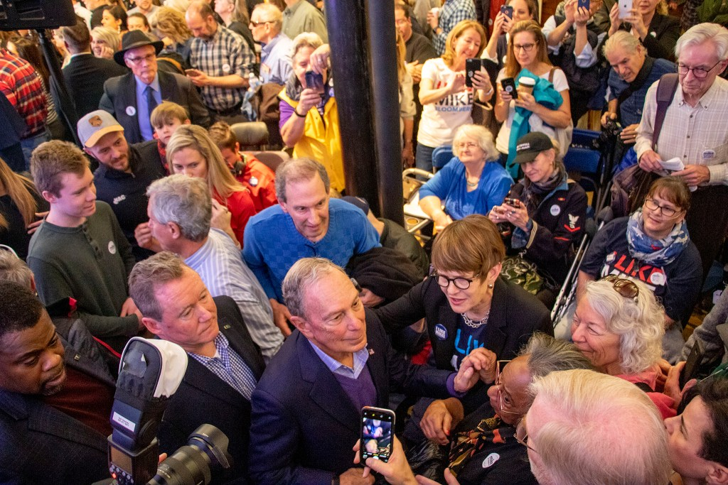 Mike Bloomberg greets supporters during the opening of his new campaign office in downtown Denver, Feb. 1, 2020. (Kevin J. Beaty/Denverite)