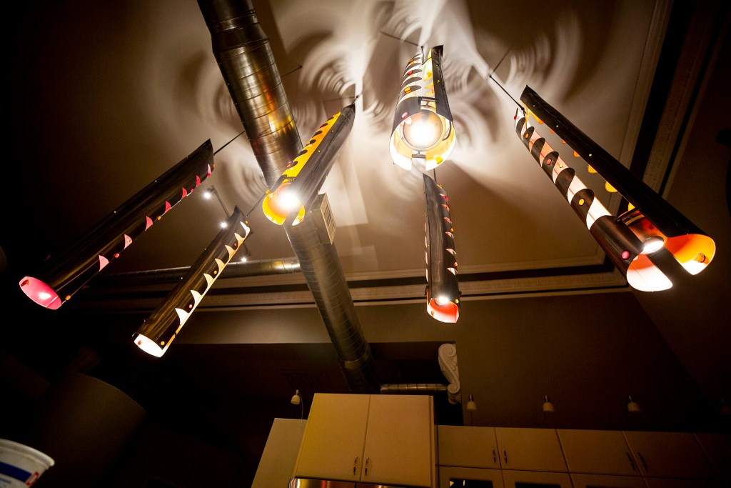 Custom lighting inside Keith Parks' apartment, formerly a Carnegie library in Denver's Cole neighborhood. Feb. 5, 2020. (Kevin J. Beaty/Denverite)