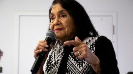 Dolores Huerta speaks about the 2020 U.S. Census at the Corky Gonzales library on West Colfax Avenue, Feb. 12, 2020. (Kevin J. Beaty/Denverite)