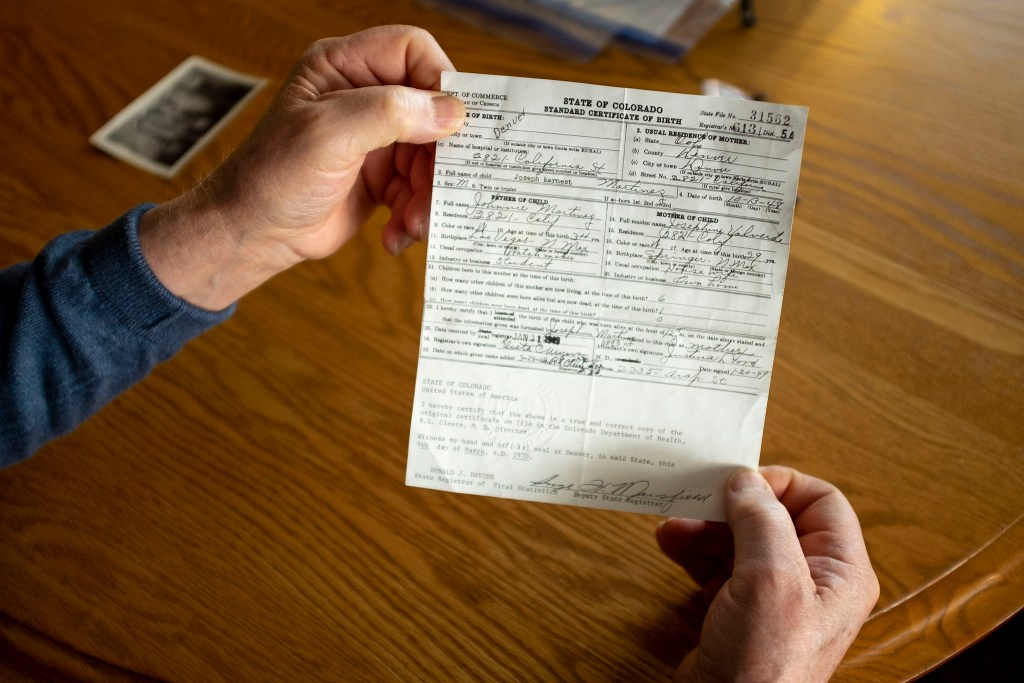Joseph Martinez's birth certificate, signed by Justina Ford. Feb. 12, 2020. (Kevin J. Beaty/Denverite)
