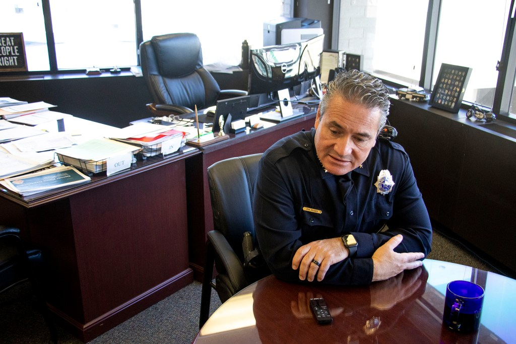 Denver Police Chief Paul Pazen speaks to a reporter in his office. Feb. 14, 2020. (Kevin J. Beaty/Denverite)