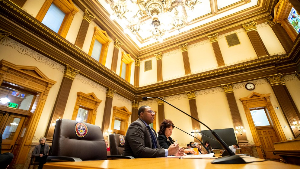 Reps. Jovan Melton and Adrienne Benavidez testify about their bill, HB-20-1233, before Colorado's Transportation and Local Government Committee. (Kevin J. Beaty/Denverite)