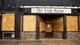The Irish Rover is boarded up and closed during social isolation measures in the city. April 2, 2020. (Kevin J. Beaty/Denverite)