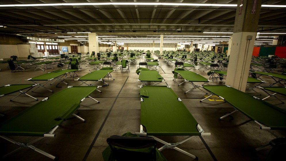 The National Western Complex is being set up to become a shelter for unhoused men. April 8, 2020. (Kevin J. Beaty/Denverite)
