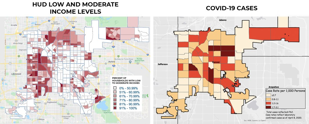 HUD low and moderate income levels vs confirmed cases of COVID-19, mapped. (Sources: City of Denver and Denver Health)