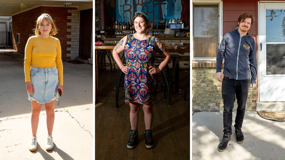 Hannah Jones, Meghan DePonceau and Cody Ullrich of the satire site, Westish. May 7, 2020. (Kevin J. Beaty/Denverite)