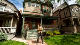 Playwright Brenton Weyi poses for a picture outside of his City Park West home. May 13, 2020. (Kevin J. Beaty/Denverite)