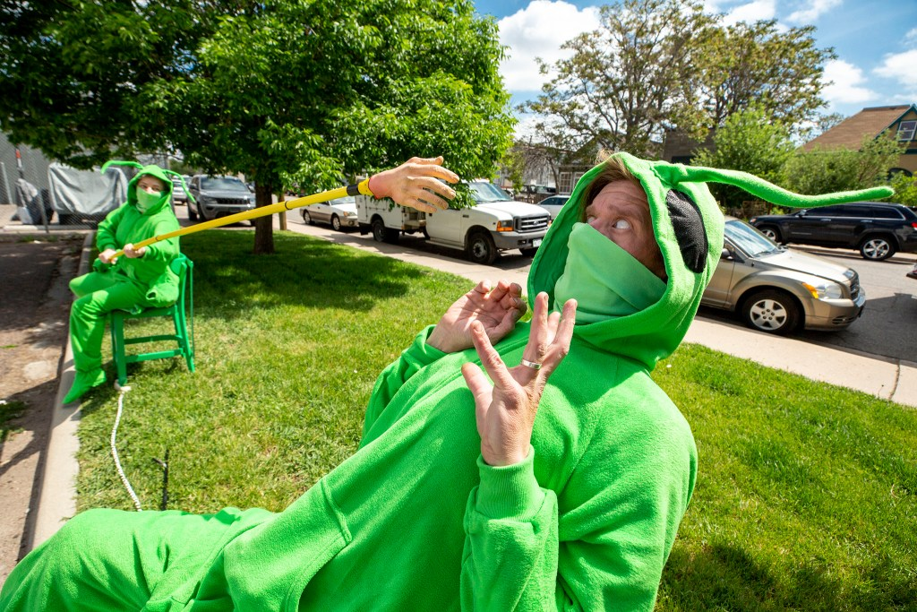 Erin Rollman and Erik Edborg are part of Buntport Theater's The Grasshoppers, a play you can watch from your car. May 28, 2020. (Kevin J. Beaty/Denverite)