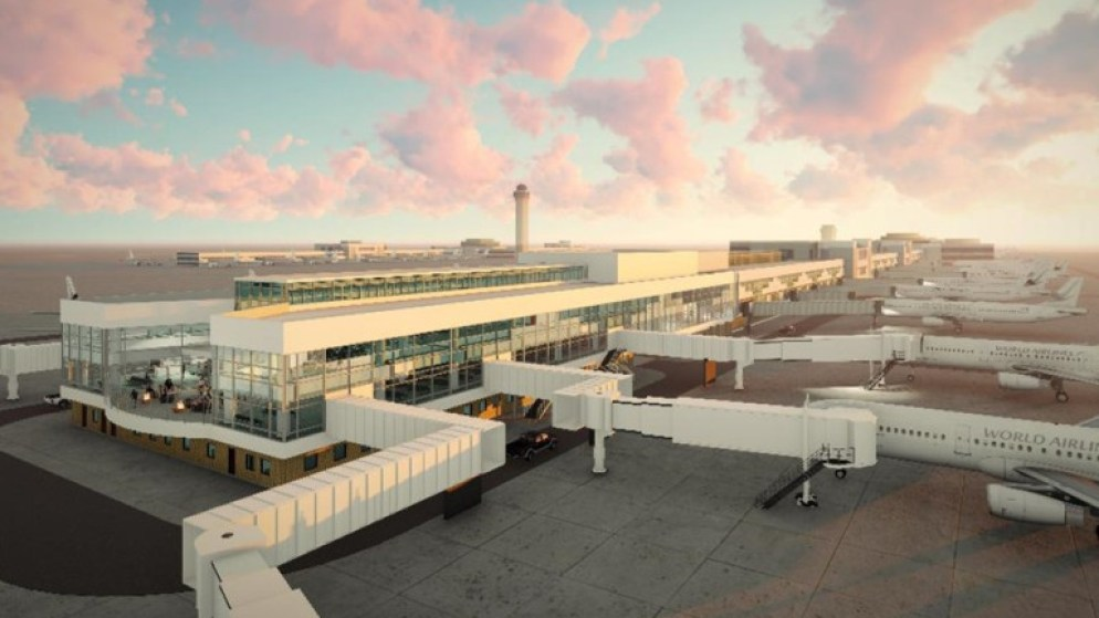"""A rendering of the new gates, which will not actually service """"World Airlines"""" as far as we know. (Courtesy, Denver International Airport)"""