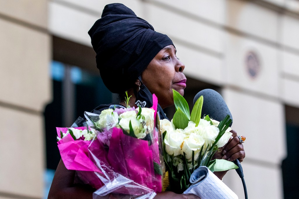 """""""Black mothers matter,"""" said Topazz McBride, who runs a group for mothers who have lost children to violence. A rally against police brutality in front of the Aurora Municipal Center. June 6, 2020. (Kevin J. Beaty/Denverite)"""